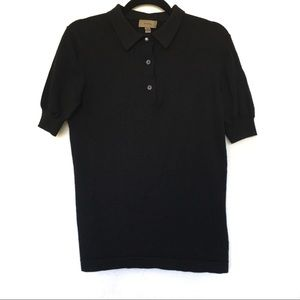 Black Uniform Burberry Button Polo W/ Pearl Small